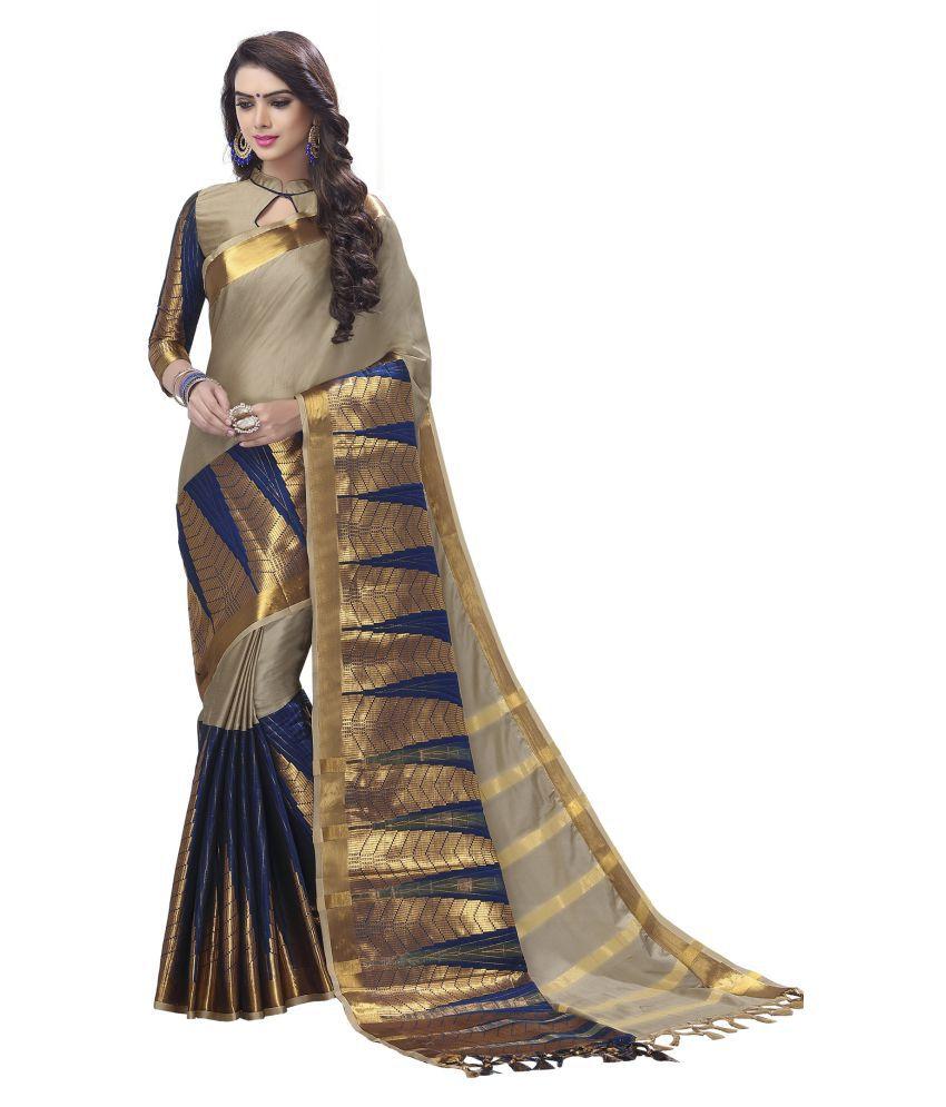 Roop Kashish Beige Cotton Silk Saree