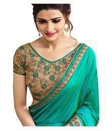 LAXMIPATI FASHION Turquoise Paper Silk Saree