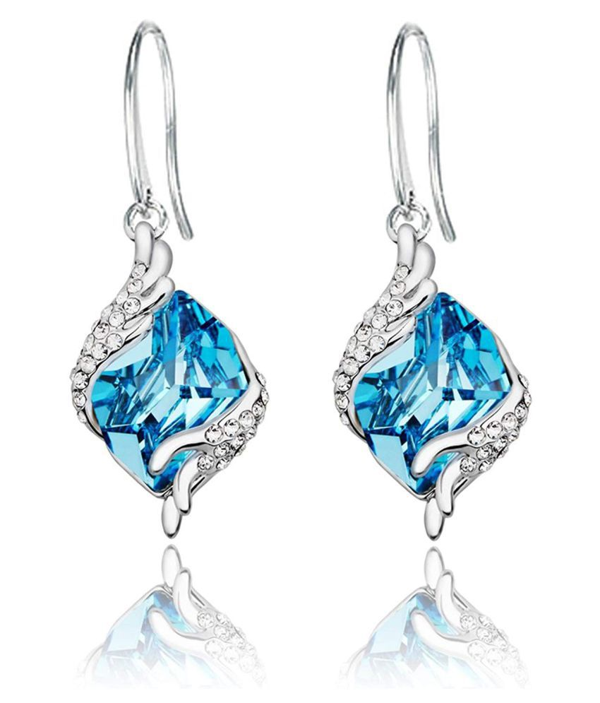Yellow Chimes Crystals from Swarovski Angel Guardian Blue Crystal Earrings for Women & Girls