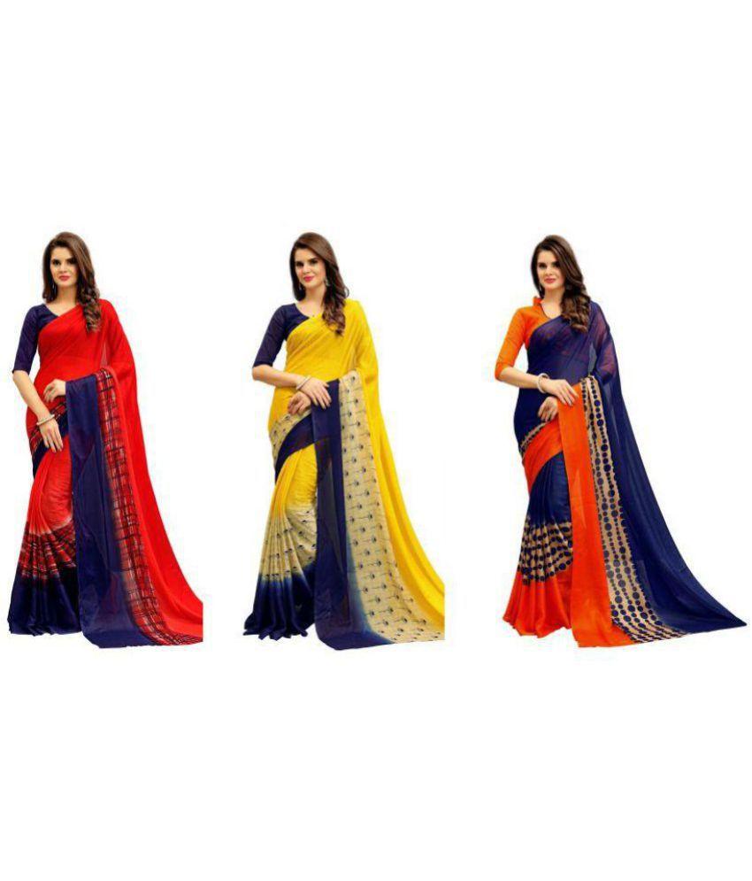 SRK_CREATION Multicoloured Chiffon Saree Combos