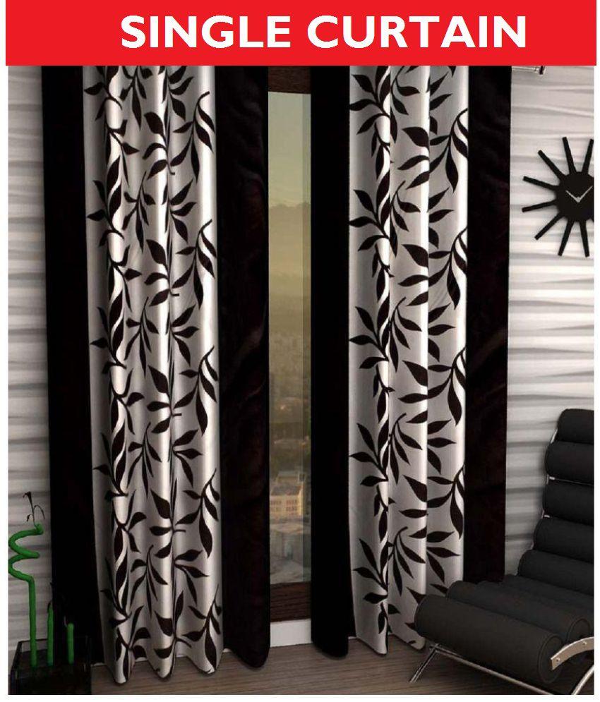 Tanishka Fabs Single Door Semi-Transparent Eyelet Polyester Curtains Black