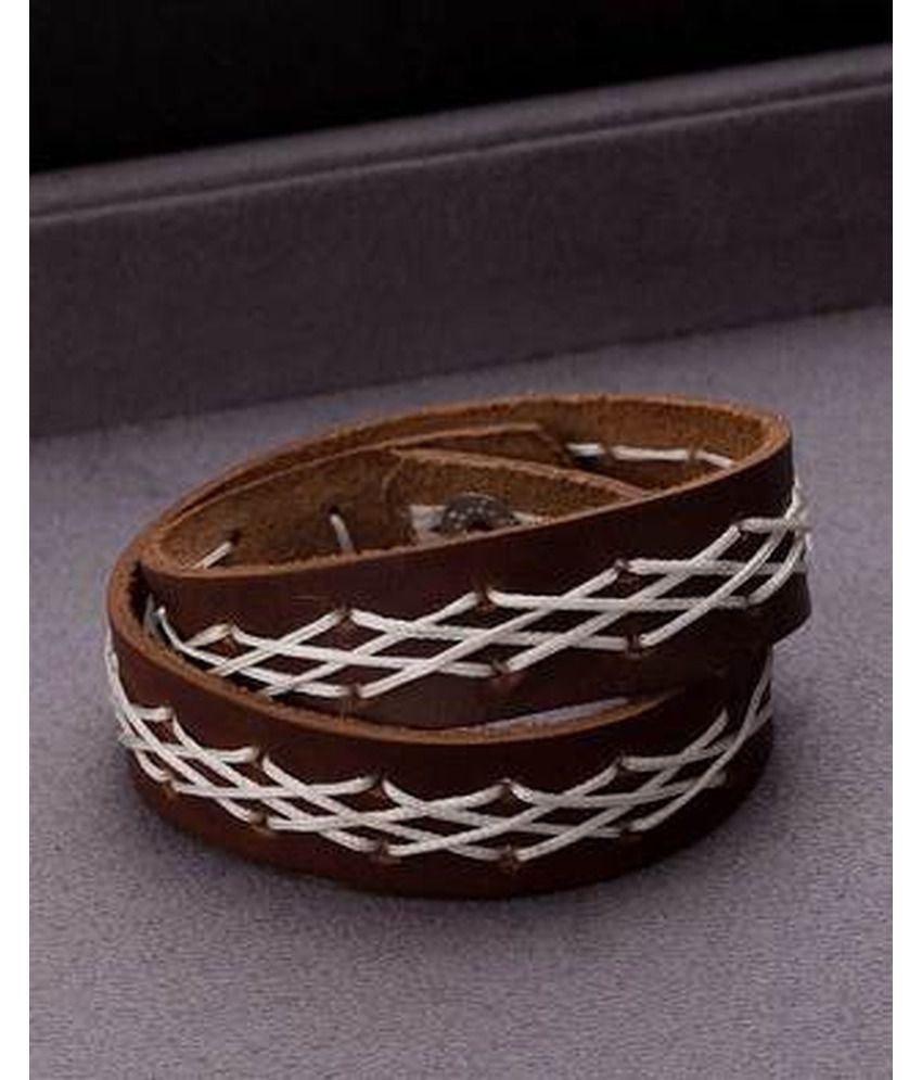 Dare by Voylla White Thread Braided Brown Cool Stacked Bracelet