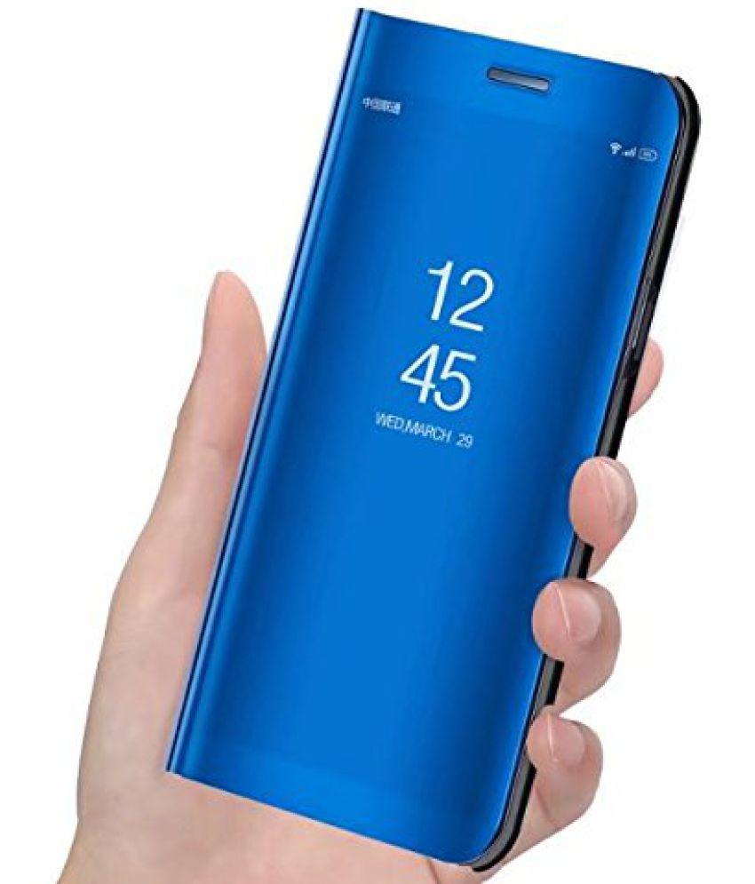 pretty nice 08d13 4394b Samsung Galaxy J6 Flip Cover by ELEF - Blue Clear View Mirror Flip Case  With Media Stand