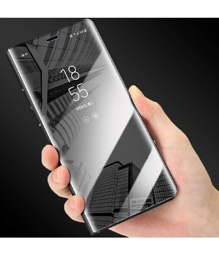 newest collection 2571d 63857 Xiaomi Redmi Note 4 Flip Cover by ELEF - Black Clear View Mirror Flip Case  With Media Stand