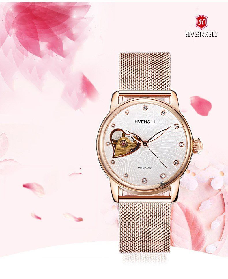 cd2404871 ... HVENSHI watch women Automatic Waterproof Top brand Mechanical watches  Full stainless steel Rose Gold watches Elegant ...