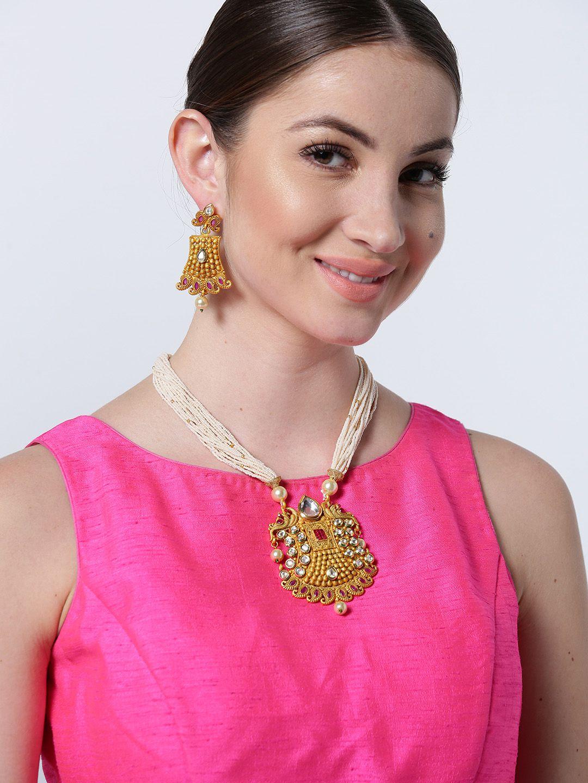 Priyaasi's Maat Finish Kundan Pearl Necklace Set