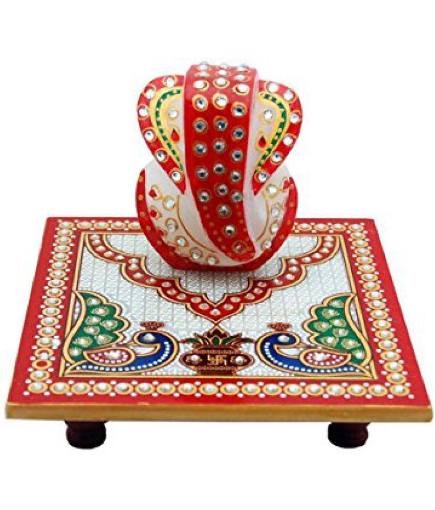 Rajasthani Art Multicolour Marble Handicraft Showpiece - Pack of 1