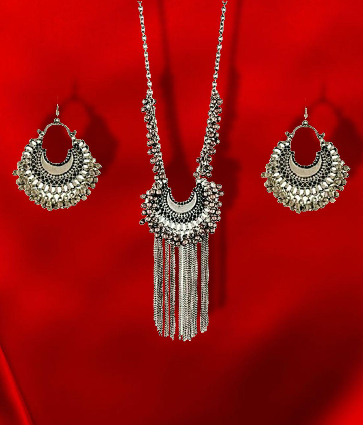 b012a519cdea3 Foxy Trend Artificial Silver Oxidised Drop Classy Luxury Afghan Tribal  Afghani Long Necklace & Earrings Jewellery Set