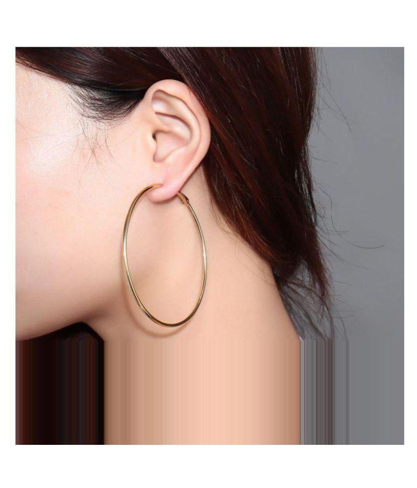 b6e07c4b7cb66 STRIPES Rose Gold Polish, Big Hoop Earrings for Women / Girls