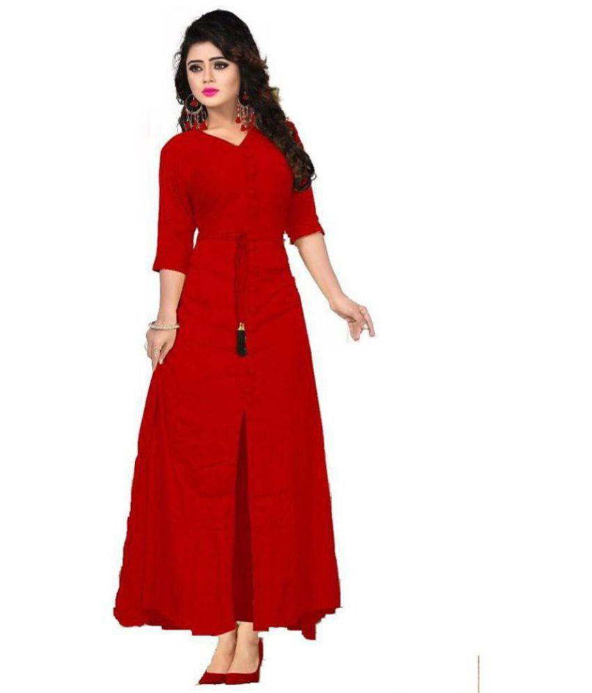 Shree Kuldevi Creation Rayon Red A- line Dress