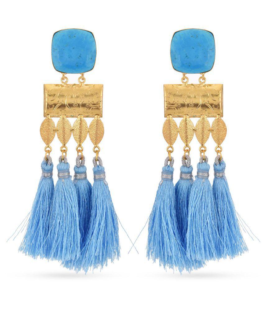 Tistabene Floral Western Style Blue Colored Stone Dangler Earrings | Blue Long Tassels Gold Plated Dangler Earrings | Fancy Party Wear New Latest Trendy Designer tassel Earrings For Girls And Women (ER-3351)