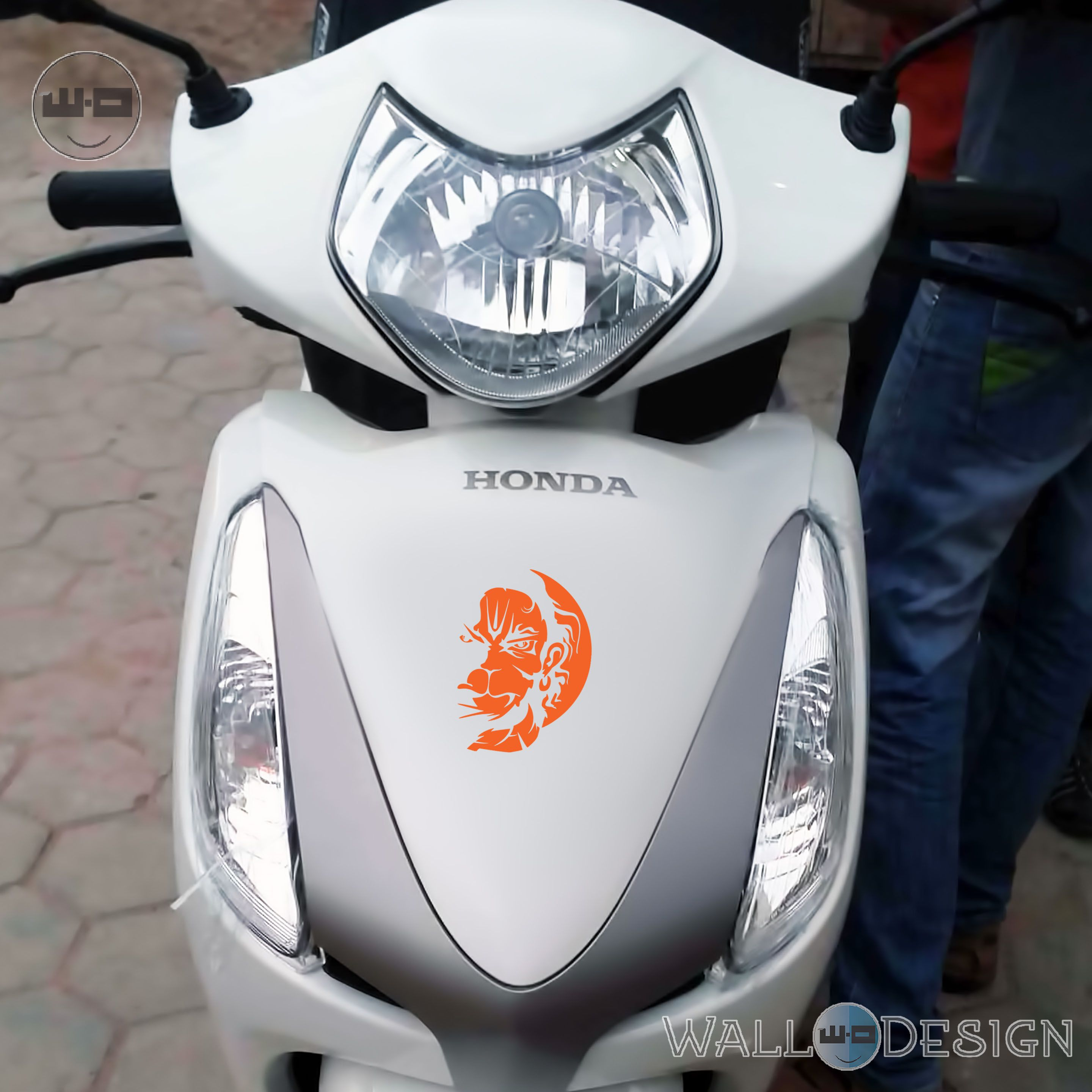 Vayuputhra hanuman orange colour vinyl stickers for bike scooter car scooty royal enfield bullet 6 x 4 inches buy vayuputhra hanuman orange colour vinyl