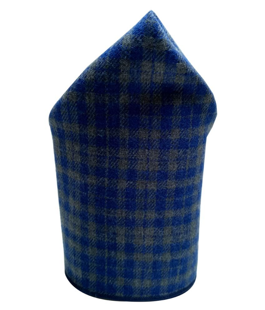 Mentiezi Cotton Blue and Grey Color Checkered Pocket Square