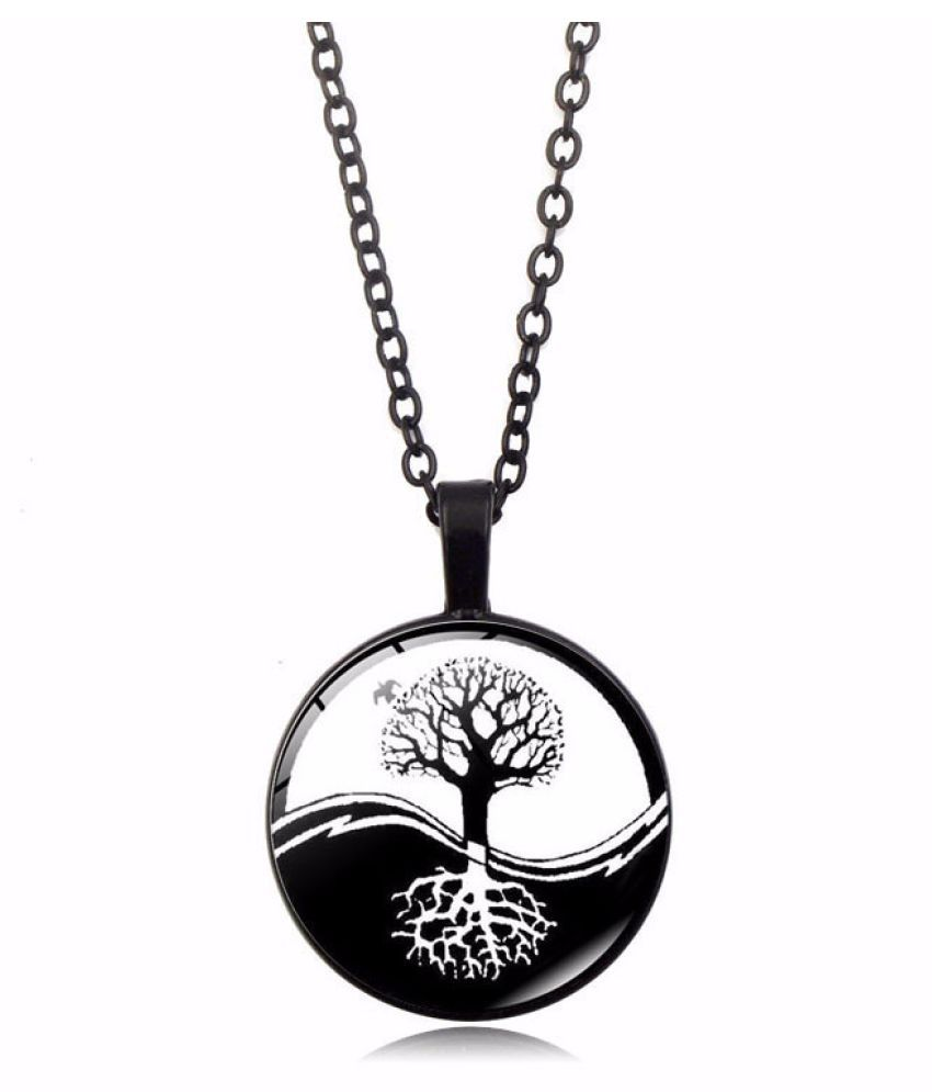 Kamalife Fashion Black Pendant Gem Bling Ice Out Necklace Accessories Gift