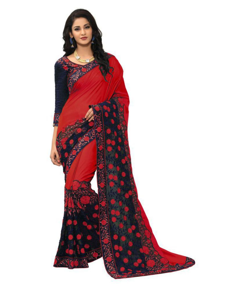 Onlinefayda Red Silk Saree