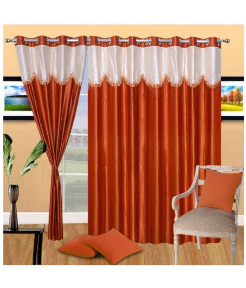 Geonature Set of 3 Door Semi-Transparent Eyelet Polyester Curtains Rust
