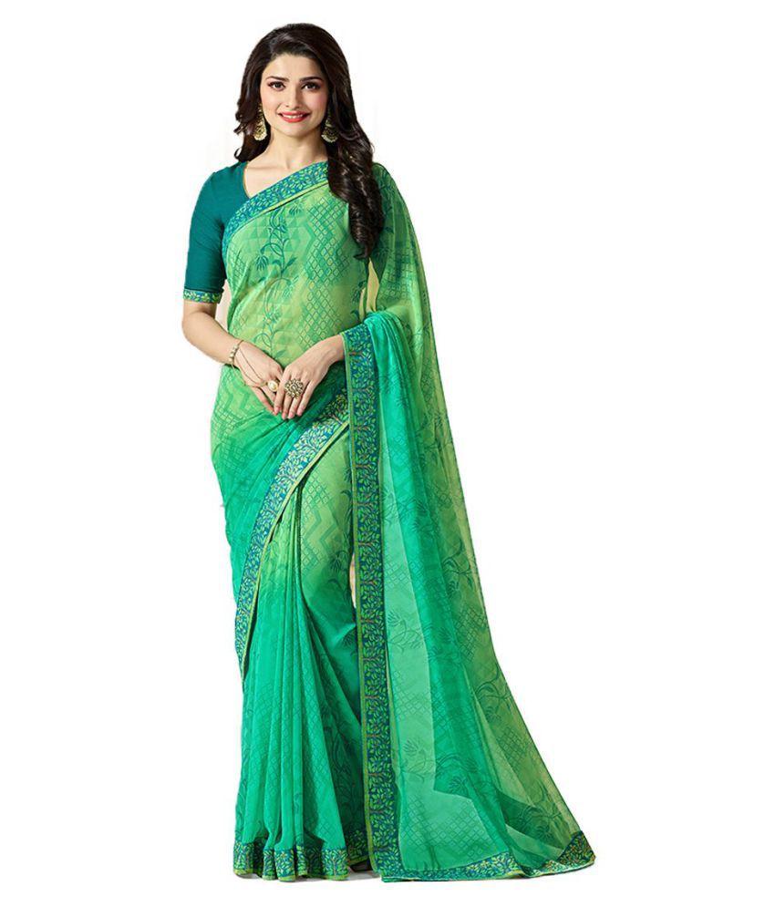 Kalapy Fashion Green Georgette Saree