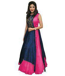 M G Enterprise Pink Bangalore Silk Anarkali Gown Semi-Stitched Suit
