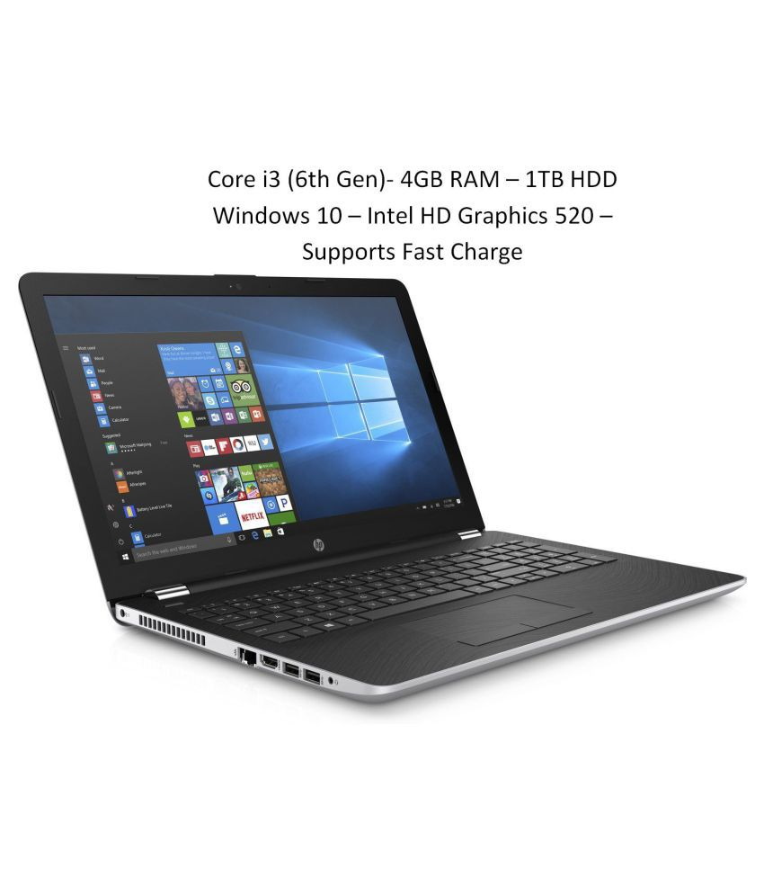 HP 15 BS636TU Netbook Core i3 (6th Generation) 4 GB 39.62cm(15.6) Windows 10 Home without MS Office Integrated Graphics Silver
