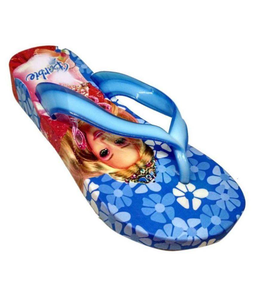 LNG Lifestyle Girls Slip On Slipper Flip Flop (Blue)