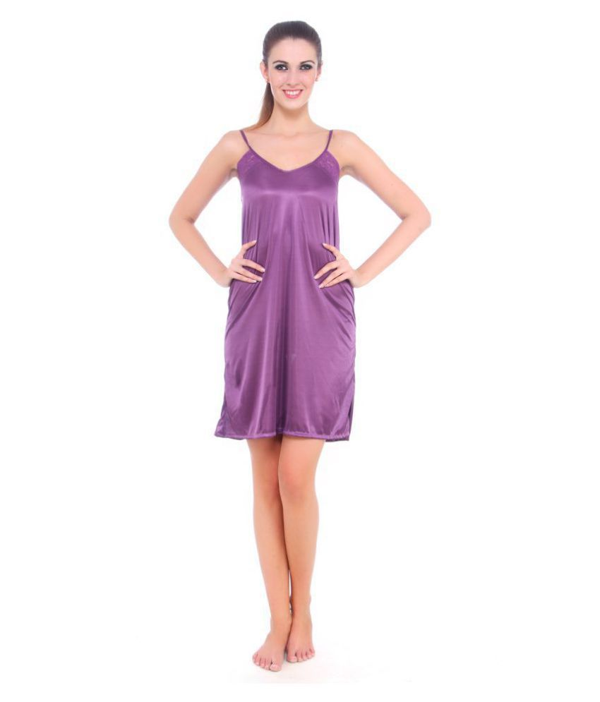ebb7389c9 Buy Fasense Satin Nighty   Night Gowns - Purple Online at Best Prices in  India - Snapdeal