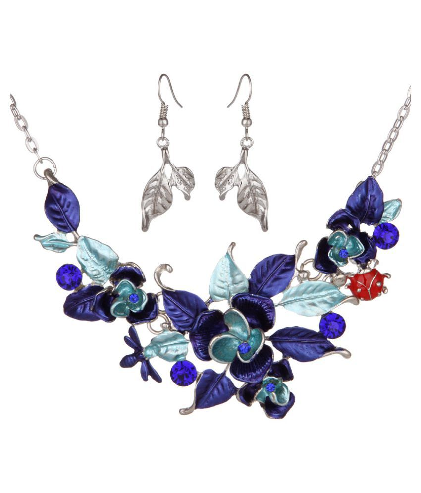 Kamalife Fashion Flower Diamond Earring Necklace Suit Accessories