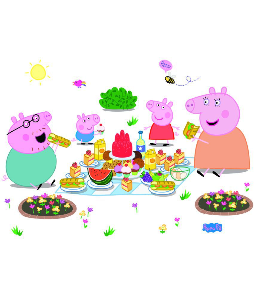 asian paints wall ons peppa pig xl family picnic removable cartoon characters sticker 43 x 107 cms rh snapdeal com