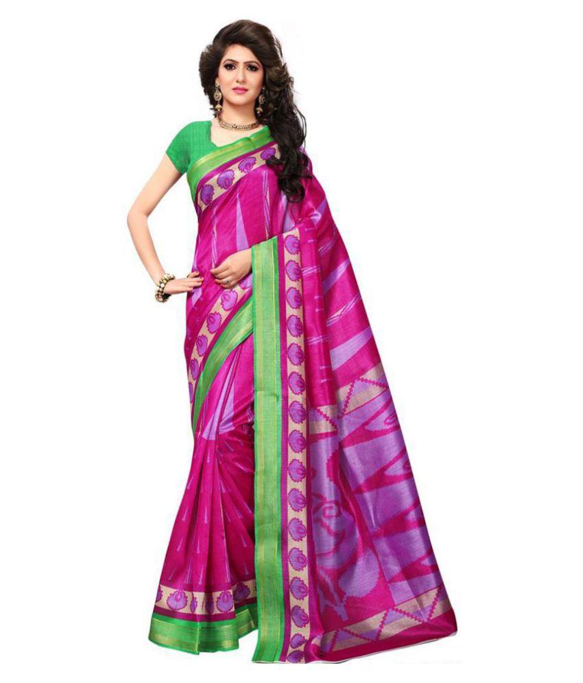Indira Pink and Purple Bhagalpuri Silk Saree