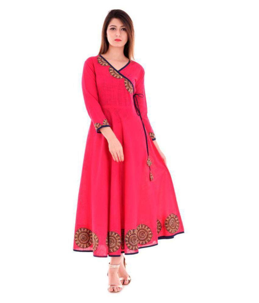 Yash Gallery Pink Cotton Anarkali Kurti
