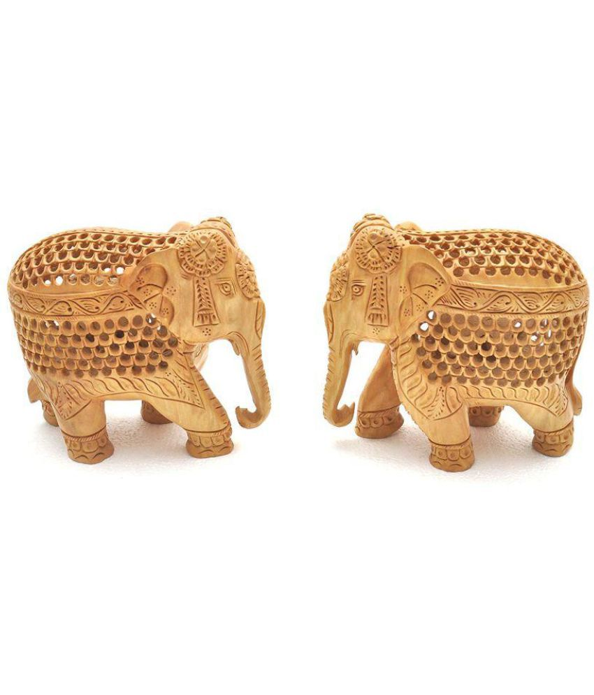 APNOGHAR Multicolour Wood Handicraft Showpiece - Pack of 2