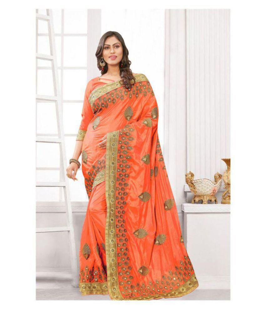 Pragati Fashion Hub Orange Silk Saree