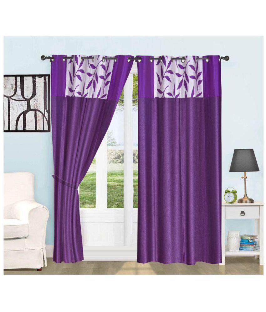 Geonature Set of 2 Door Semi-Transparent Eyelet Polyester Curtains Purple