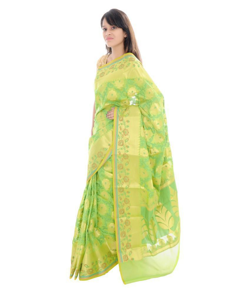 Jolaa Green Chanderi Saree