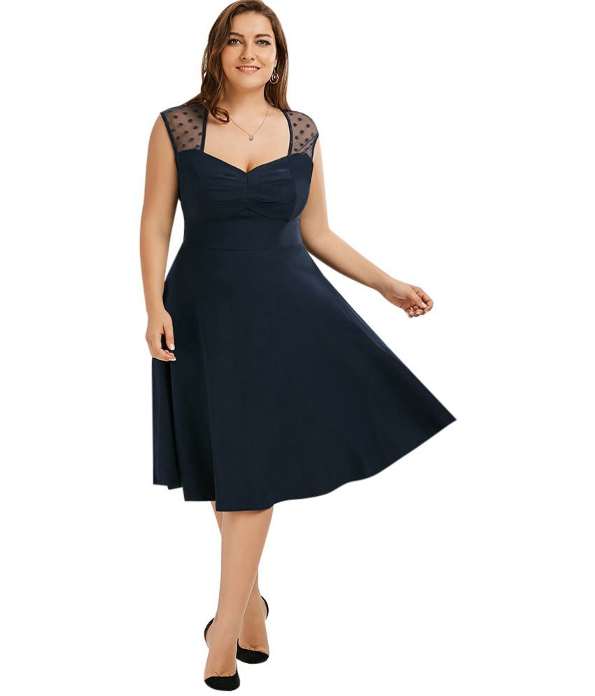Whitleys Polyester Blue Fit And Flare Dress