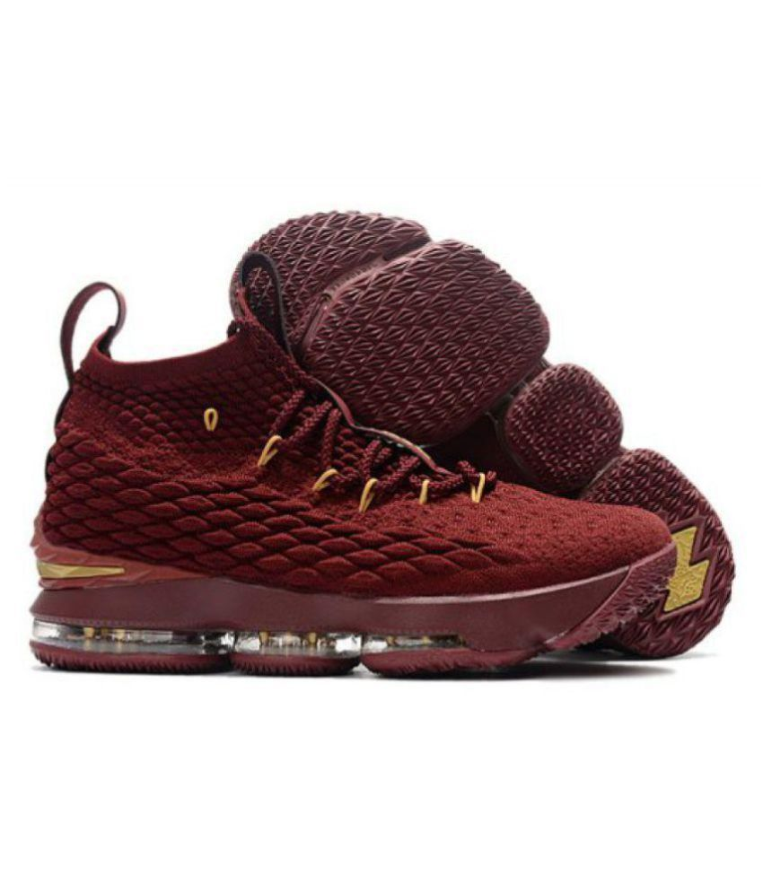 hot sale online 2f65a 42b8b Nike LEBRON 15 PPM Maroon Basketball Shoes