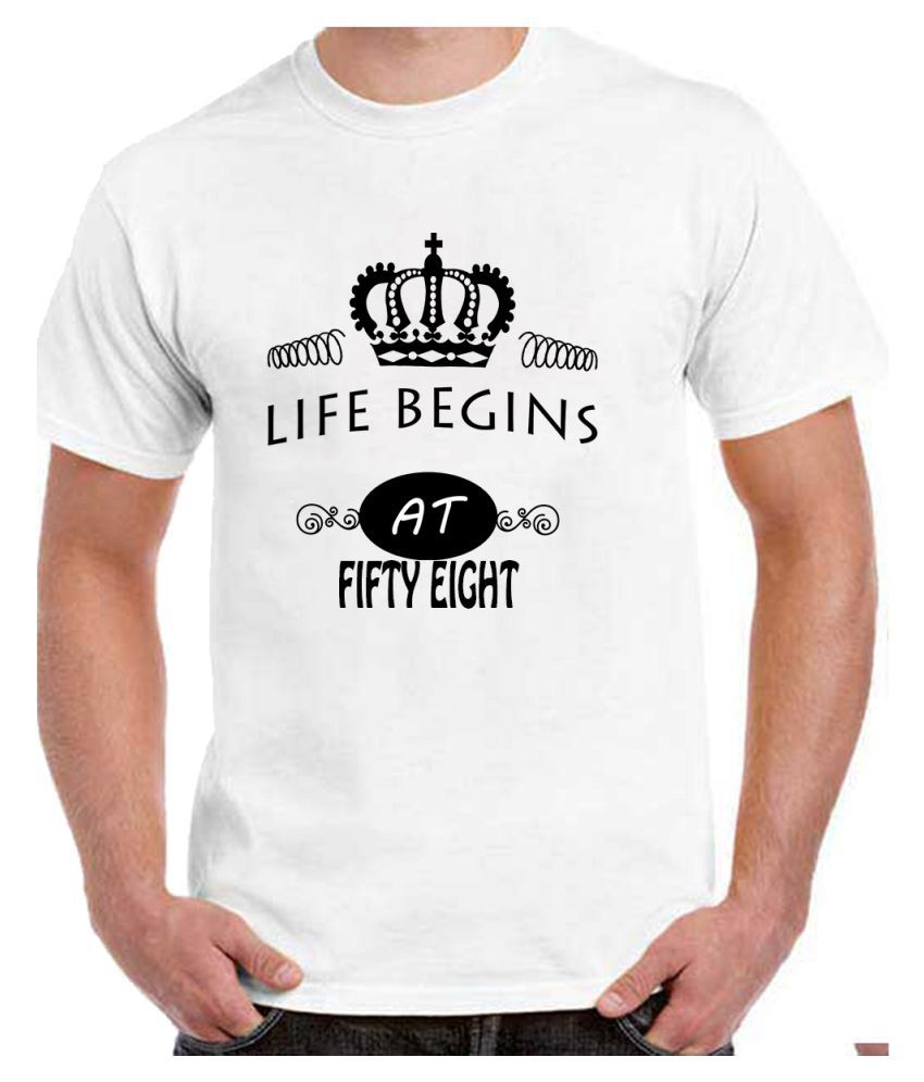 Ritzees Unisex Half Sleeve Dry Fit White Polyester T-Shirt on 58Th Birthday-M