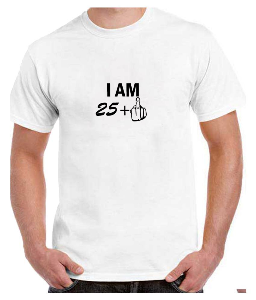 Ritzees Unisex Half Sleeve Dry Fit White Polyester T-Shirt on 25Th Birthday-XL