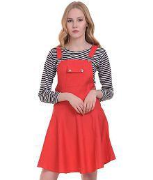 MDS Jeans Cotton Lycra Red A- line Dress