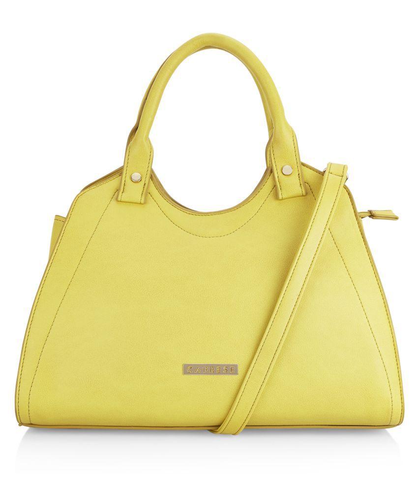 Caprese Yellow Faux Leather Satchel Bag