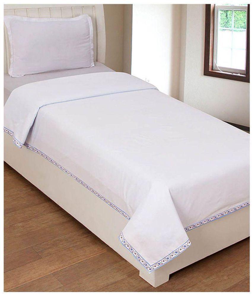 Shri Anand Creations Single Cotton White Plain Top Sheet