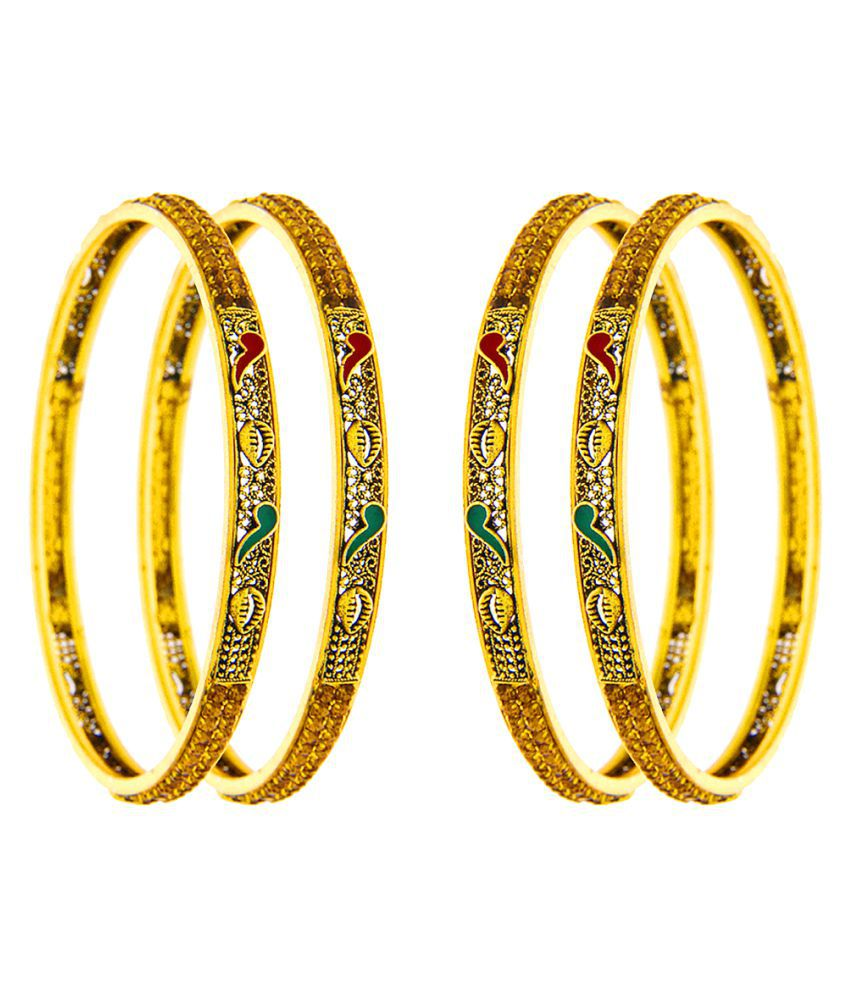 Anuradha Art Golden Touch Wonderful Adorable Traditional Bangles Set For Women/Girls