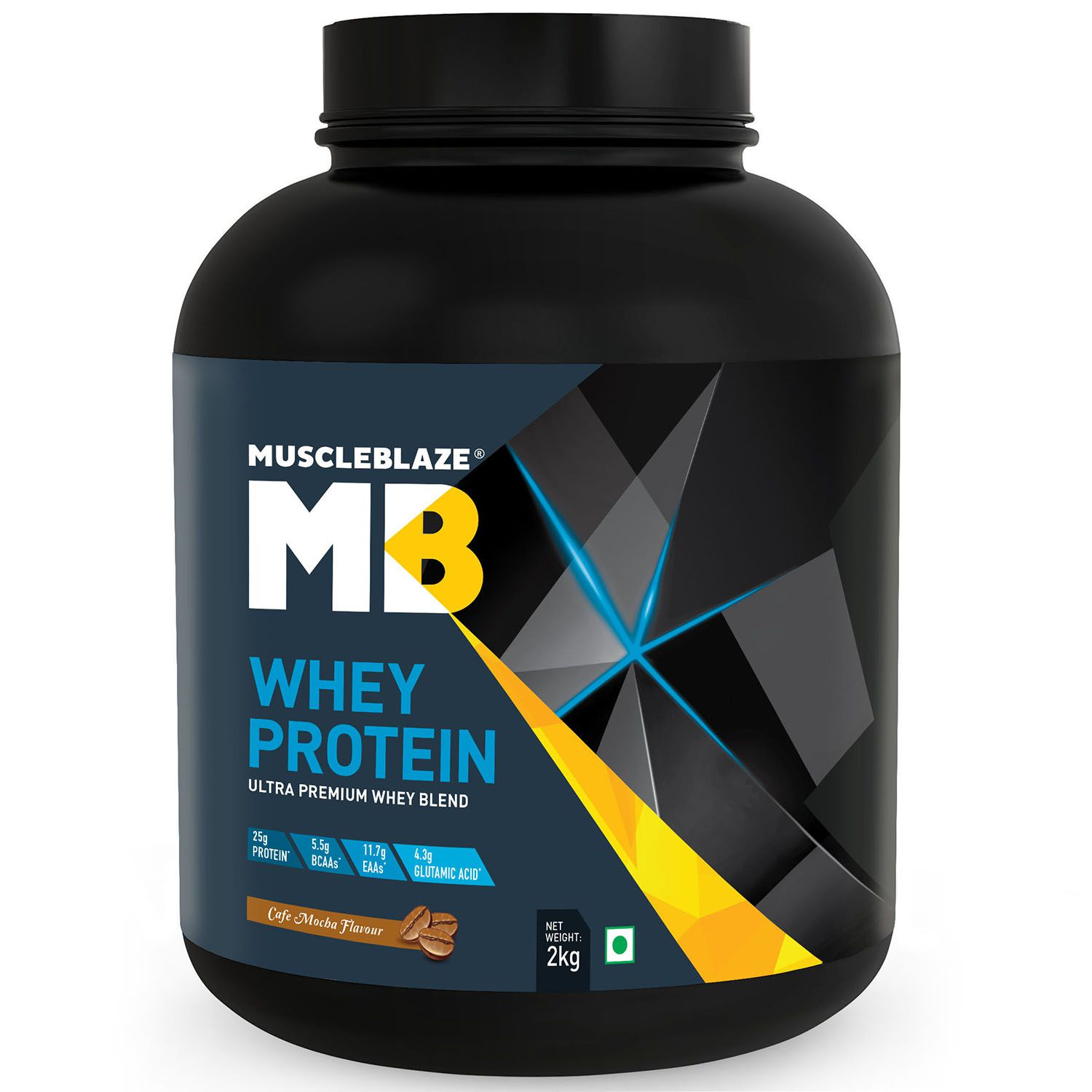 MuscleBlaze 100% Whey Protein Supplement Powder with Digestive Enzyme, 4.4 lb/ 2 kg, 60 Servings (Cafe Mocha)