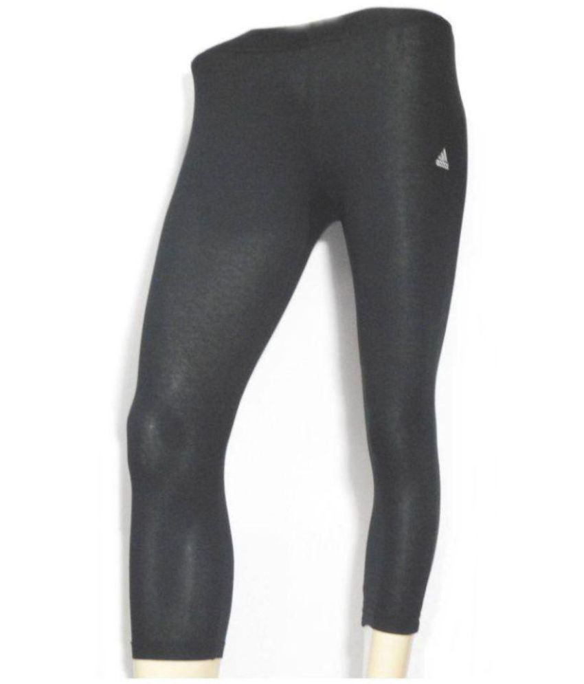 c7e76f87779 Buy Adidas Cotton Lycra Tights - Black Online at Best Prices in India -  Snapdeal