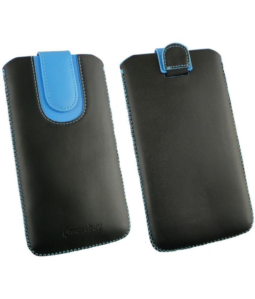 Huawei Honor V10 Flip Cover by Emartbuy - Multi ( Magnetic Pouch Size 3XL ) Black/Blue Plain