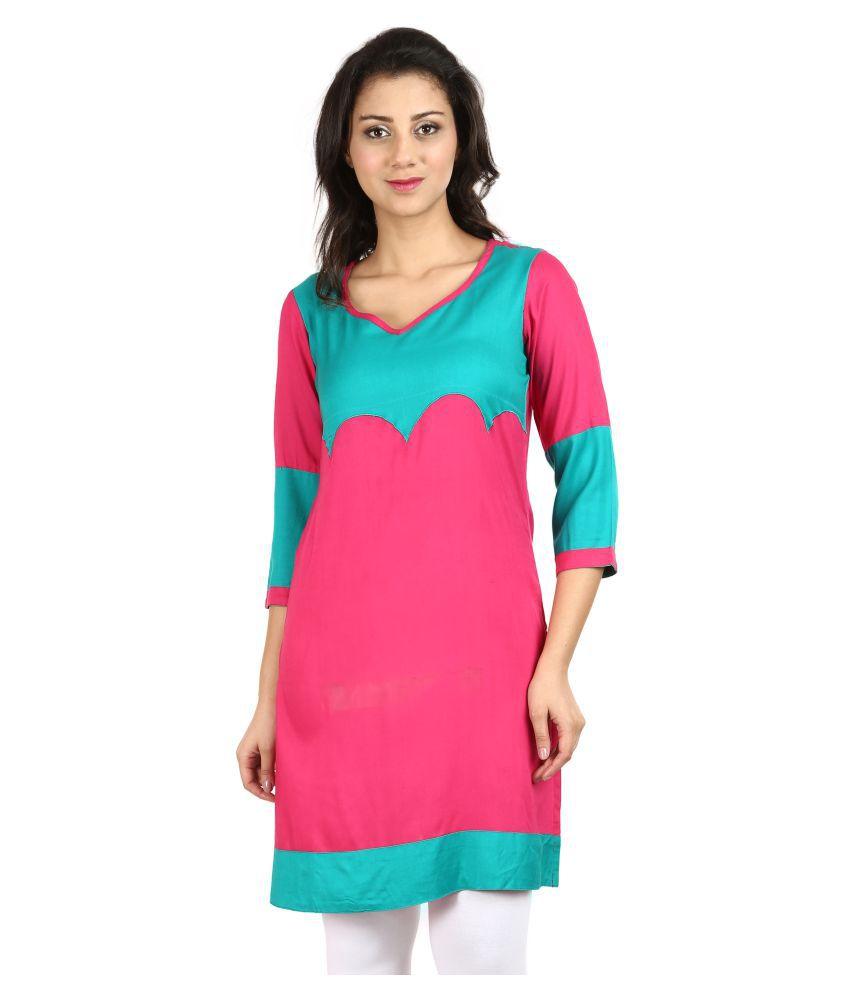 Vaijyanti Pink Rayon A-line Kurti