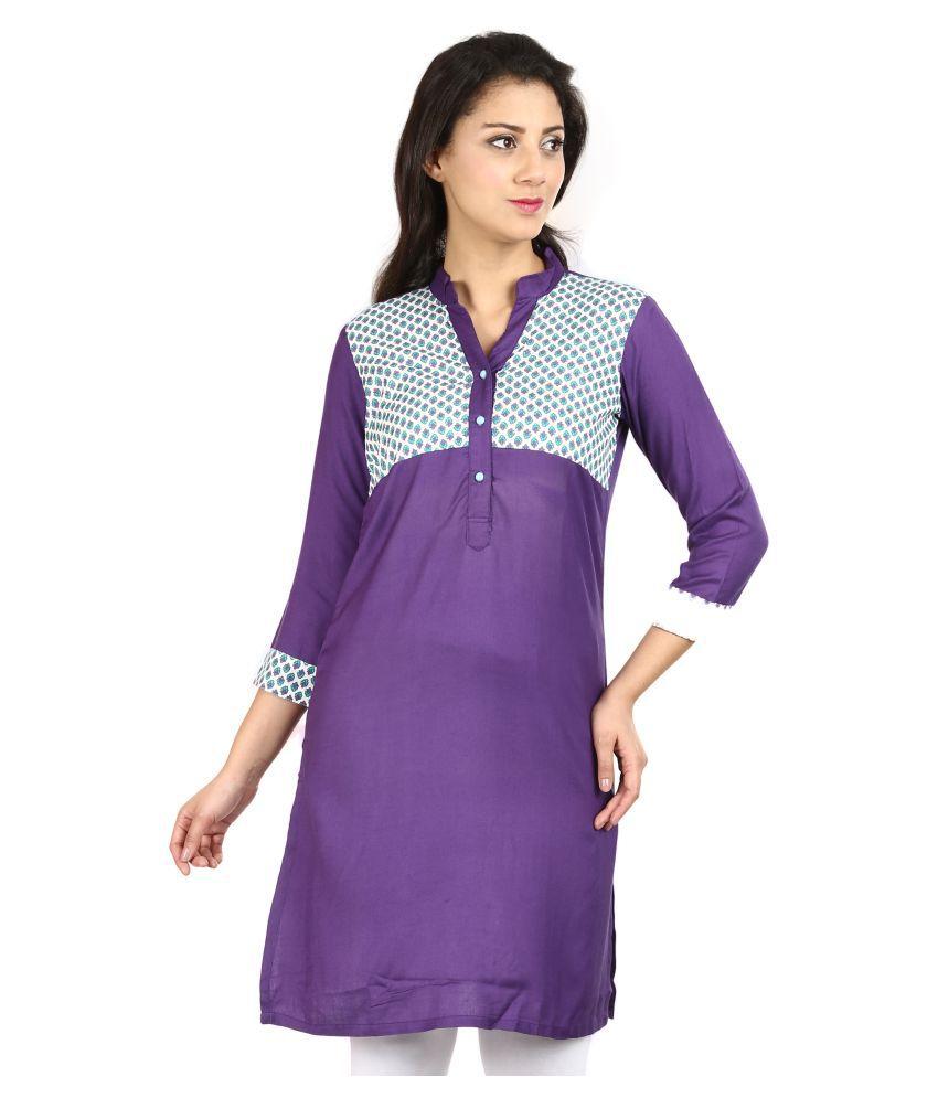 Vaijyanti Purple Rayon A-line Kurti