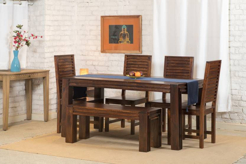 Excellent Ethnic India Art 6 Seater Dining Set With Bench Machost Co Dining Chair Design Ideas Machostcouk