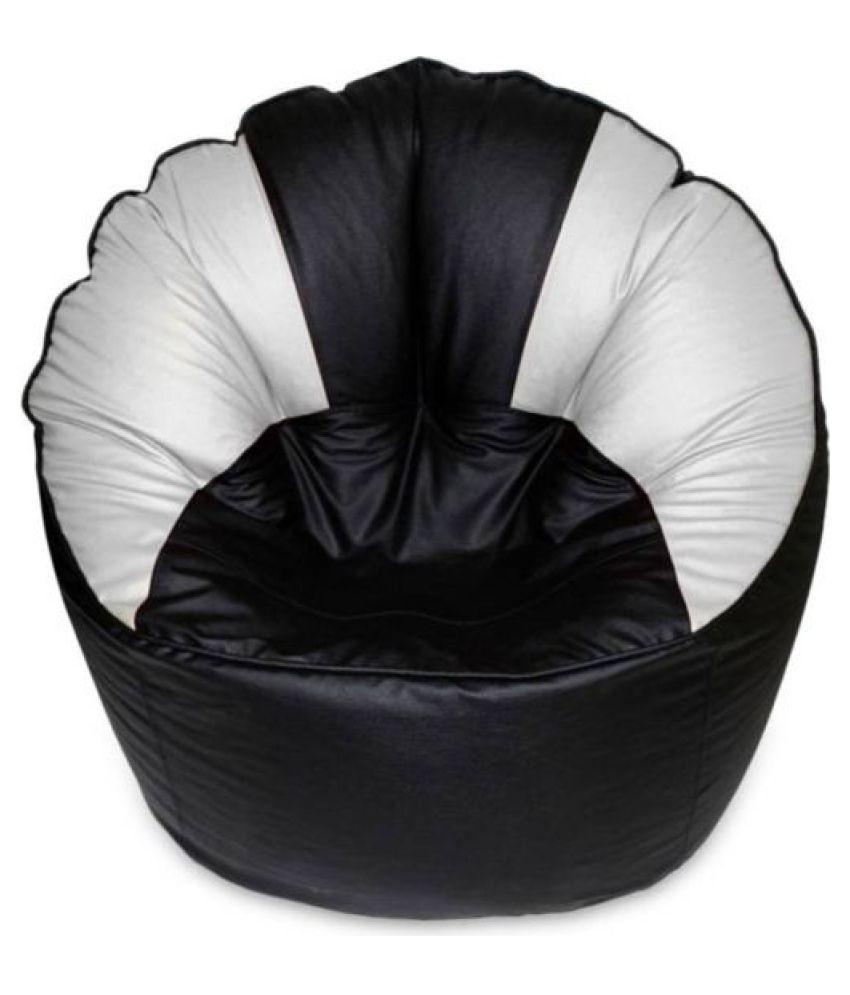 Madaar Homez Artificial Leather Sofa Mudda Black White Bean Bag Cover