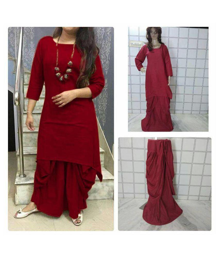 kailash fashion Red Cotton Dhoti style Kurti