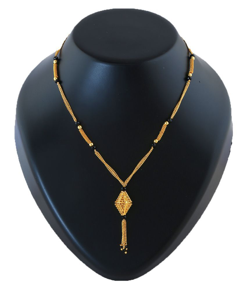 Anuradha Art Golden Colour Styled With Crystal Beads Wonderful Traditional Mangalsutra For Women